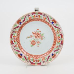 Chinese Export Porcelain Iron Red Decorated Warming Dish
