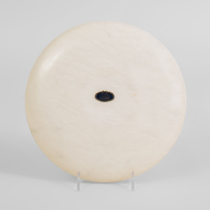 Italian Carved Alabaster Circular Shallow Dish