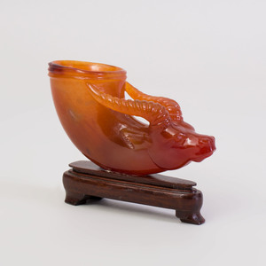 Chinese Carved Agate Rhyton Cup