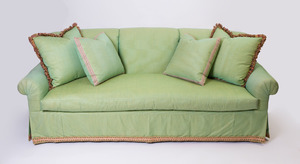 GREEN SILK-UPHOLSTERED THREE-SEAT SOFA
