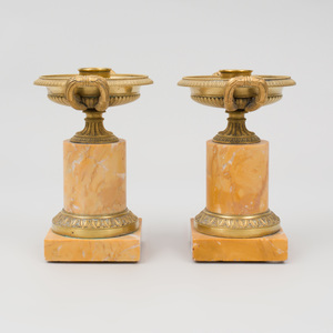 Pair of Charles X Style Gilt-Metal-Mounted Marble Candlesticks
