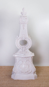 SCANDINAVIAN ROCOCO STYLE WHITE-GLAZED POTTERY STOVE, OF RECENT MANUFACTURE