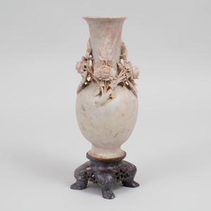 Chinese Carved Soapstone Vase and Stand