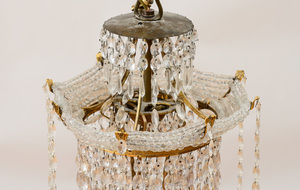 GERMAN NEOCLASSICAL STYLE ORMOLU-MOUNTED CUT-GLASS AND BEADED GLASS EIGHT-LIGHT CHANDELIER, POSSIBLY RUSSIAN