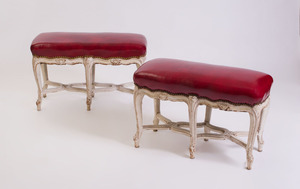 PAIR OF LOUIS XV STYLE WHITE PAINTED TABOURET