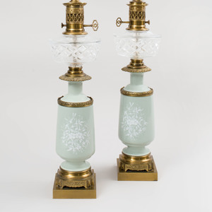 Pair of Celadon Pate-Sur-Pate Porcelain Oil Lamps