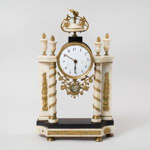 Louis XVI Style Gilt-Metal-Mounted Marble Mantle Clock