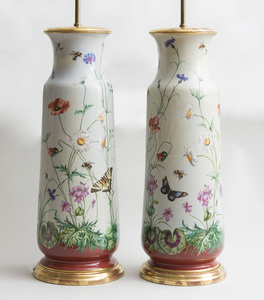 PAIR OF LARGE NAPOLEON III PAINTED-GLASS BALUSTER-SHAPED VASES, MOUNTED AS LAMPS