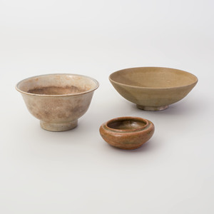 Chinese Celadon Water Pot and Two Glazed Porcelain Bowls