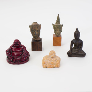 Group of Small Thai and Chinese Devotional Objects, and a Tang Style Model of a Rooster