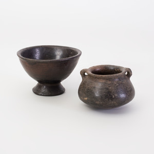 Two Burnished Black Pottery Vessels