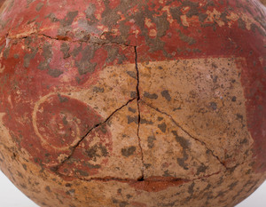 Rustic Red Painted Pottery Jar and Plate
