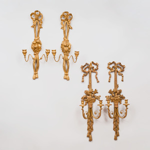 Two Pairs of Louis XVI Style Carved Giltwood Two Light Sconces