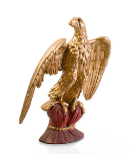 Painted and Parcel Gilt Carving of an Eagle
