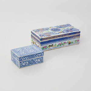 Two Chinese Export Porcelain Boxes and Covers