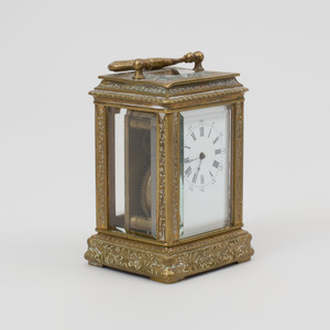 Continental Engraved Brass Carriage Clock