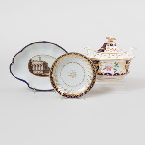 Three English Gilt-Decorated Cobalt Ground Porcelain Wares