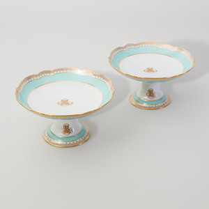 Pair of Ch. Pillivuyt & Co. Mint Green Ground Porcelain Compotes