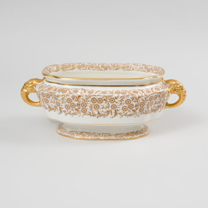 Royal Worcester Gilt-Decorated Centerbowl with Elephant Head Handles