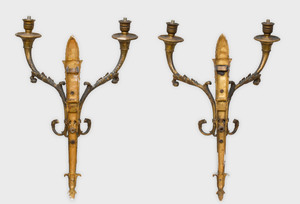 Pair of Empire Style Patinated Parcel-Gilt Bronze Two Light Sconces