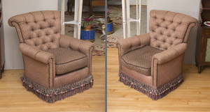 PAIR OF TUFTED UPHOLSTERED CLUB CHAIRS