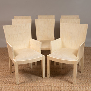 SET OF EIGHT ENRIQUE GARCEL BONE-VENEERED DINING CHAIRS