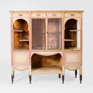 Aesthetic Movement Painted and Parcel-Gilt Glass Front Cabinet, Herter Brothers