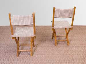 PAIR FAUX BAMBOO CAMPAIGN CHAIRS