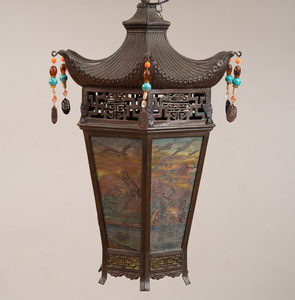 CHINESE TIN AND PAINTED STAINED GLASS HANGING LANTERN