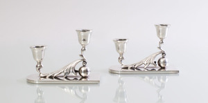 PAIR OF MEXICAN STERLING SILVER CANDLESTICKS