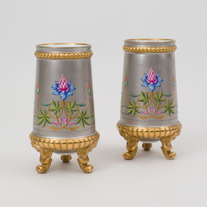 Pair of Paris Porcelain Painted and Gilt-Decorated Silver Ground Vases