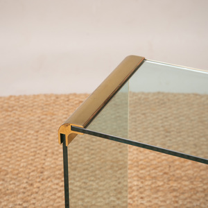 PACE STYLE BRASS-MOUNTED GLASS CONSOLE TABLE