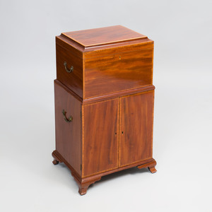 George III Inlaid Mahogany Cellarette on Stand