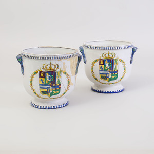 Pair of Italian Faience Wine Coolers
