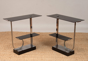 PAIR OF PAUL FRANKL CHROME, BAKELITE AND LACQUERED WOOD TWO-TIER SIDE TABLES BY SKYSCRAPER FURNITURE