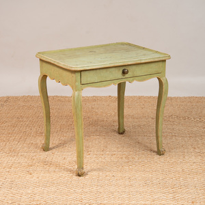 LOUIS XV PROVINCIAL GREEN PAINTED SIDE TABLE