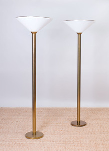 PAIR OF KOCH & LOWY BRASS STANDING LAMPS WITH LUCITE SHADES