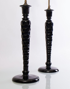 PAIR OF CUT ONYX GLASS TABLE LAMPS