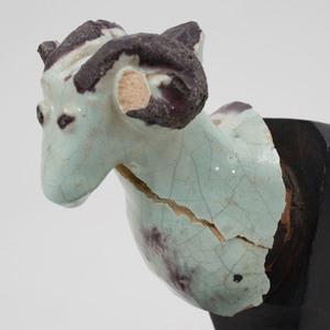 Glazed Stoneware Head of a Ram