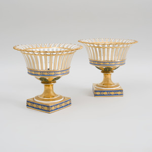 Pair of Paris Porcelain Reticulated and Stemmed Fruit Compotes
