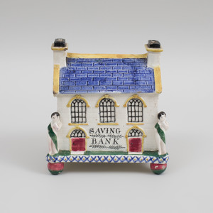Staffordshire Pearlware Model of a Savings Bank