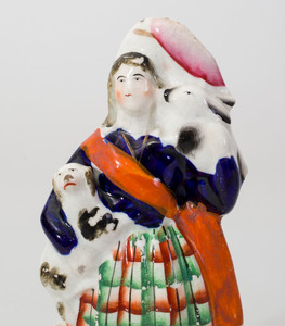 Staffordshire Flat Back Figure of a Scottish Highlander and a Model of a Castle