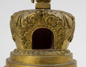 South Asian Gilt-Bronze Model of a Stupa