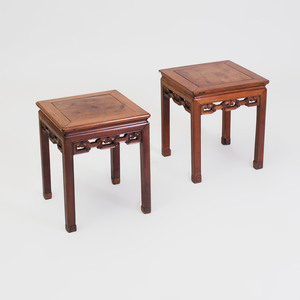 Near Pair of Chinese Carved Hardwood Low Tables