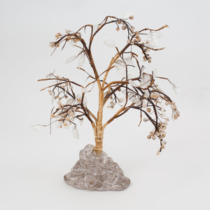 Chinese Silk and Colorless Glass Model of a Tree