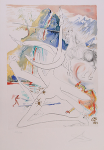 SALVADOR DALI (1904-1989): THE UNICORN LASER DISINTEGRATES THE HORNS OF COSMIC RHINOCEROSES, FROM THE CONQUEST OF THE COSMOS II