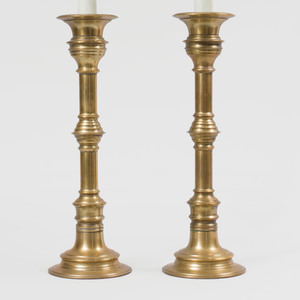 Pair of Tall Brass Pricket Stick Lamps
