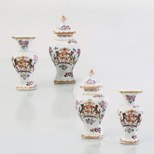 Samson Porcelain Chinese Export Style Miniature Four Piece Garniture