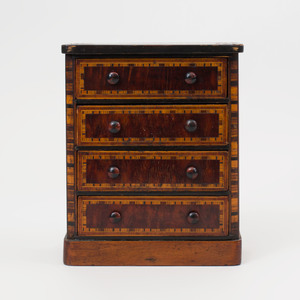 Victorian Fruitwood Inlaid Mahogany Miniature Chest