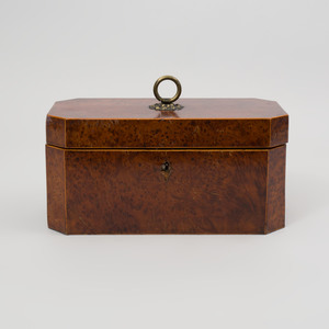 Late Regency Burl Elm Tea Caddy